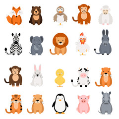 Cute vector animal set on white background. Fox, bear, elephant, bear, hen, chicken, chick, rooster, lion, monkey, tiger, pig, donkey, rabbit, rhino, cow, zebra, sheep, penguin