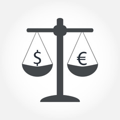 Finance icon. Money currency on scales. Cash balance vector illustration.