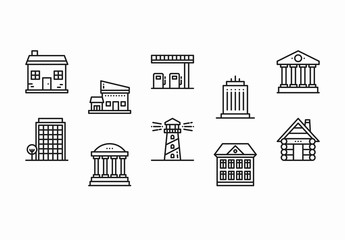 25 Black and White Building Icons