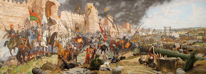 Final assault and the fall of Constantinople in 1453 Fototapete