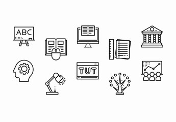 30 Black and White Education Icons