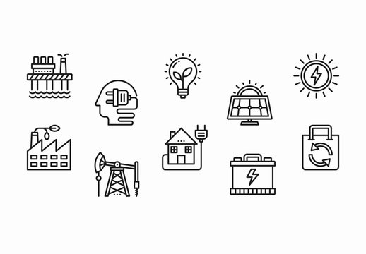 35 Black and White Ecology and Energy Icons