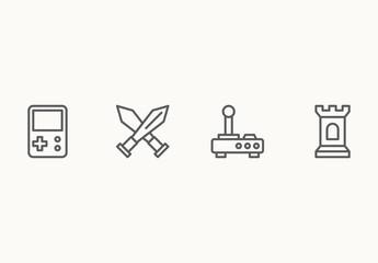 40 Minimalist Gaming Icons