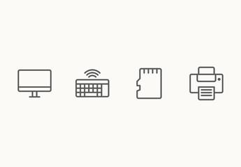 40 Minimalist Computer Hardware Icons