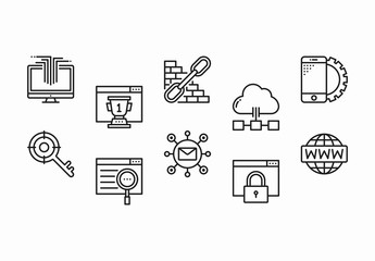 35 Black and White SEO Icons
