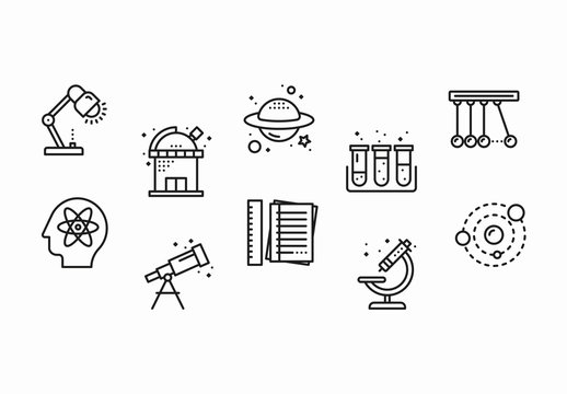 25 Black and White Science and Research Icons
