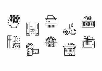 40 Black and White Technology and Hardware Icons