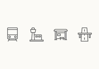 50 Minimalist Transportation and Travel Icons
