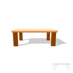Table. Isolated on white. 3d Vector illustration. Front view.