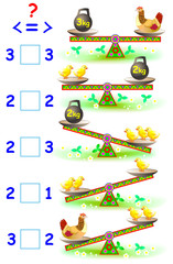 Educational page with mathematical exercises for young children. Need to write the correct signs in empty squares. Vector cartoon image.