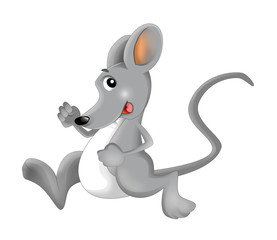 Cartoon happy and funny mouse - isolated background - illustration for children