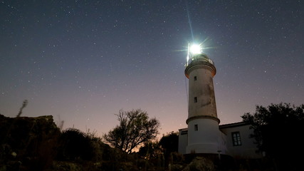 Timelapse of beautiful night landscape with lighthouse with rotating starry sky on a background