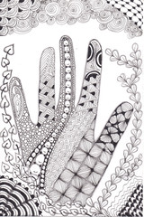 Zentangle hand drawn human palm with variety of tangles. Zen tangle style art.
