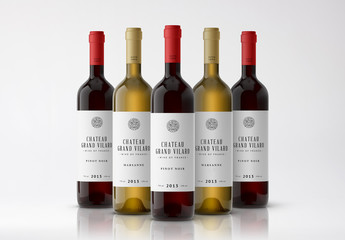 Five Bottles of Wine Mockup 2