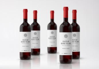 Five Bottles of Wine Mockup 1