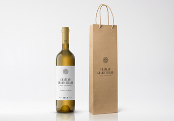 Wine Bottle and Paper Bag Mockup