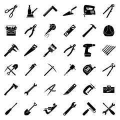 Set of thirty six flat style black and white tools used in construction, building, engeeniring, manufacturing. Vector illustration.