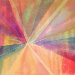 abstract digital watercolor background design of triangle shapes painted in pink blue and orange hues, geometric background image with faded vintage grunge texture
