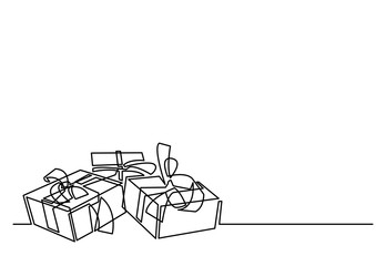 continuous line drawing of Christmas gifts
