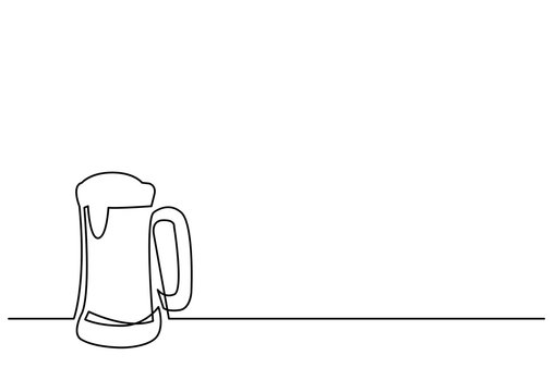 continuous line drawing of beer mug