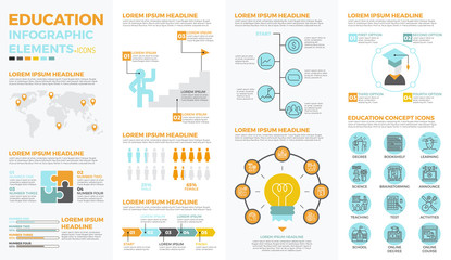 School education infographic elements