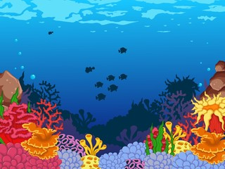 beauty corals with underwater view background
