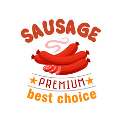 Sausage grill fast food vector menu label emblem