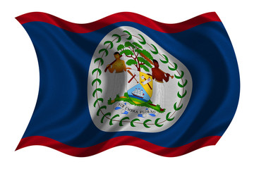 Flag of Belize wavy on white, fabric texture