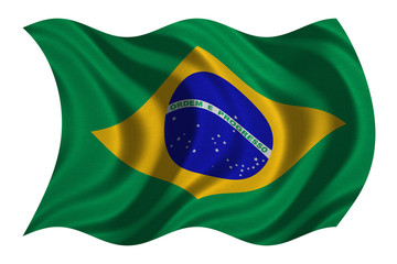 Flag of Brazil wavy on white, fabric texture