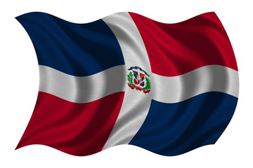 Dominican Republic flag waving, fabric texture