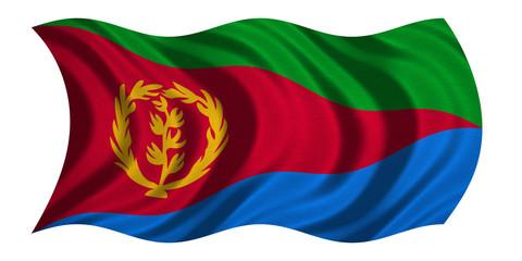 Flag of Eritrea wavy on white, fabric texture