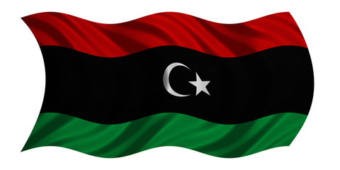 Flag of Libya wavy on white, fabric texture