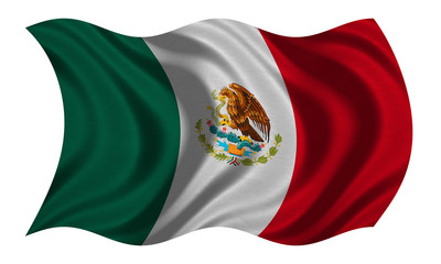 Flag of Mexico wavy on white, fabric texture