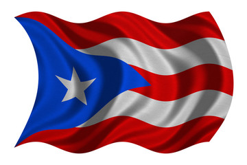 Flag of Puerto Rico wavy on white, fabric texture