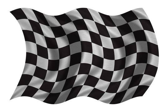Checkered racing flag wavy on white fabric texture