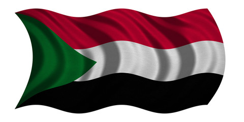 Flag of Sudan wavy on white, fabric texture