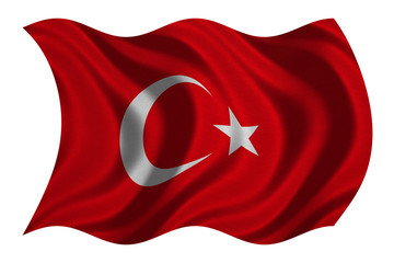Flag of Turkey wavy on white, fabric texture