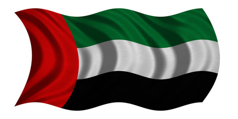 Flag of the UAE wavy on white, fabric texture
