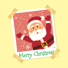 Santa Claus Christmas in instant photo frame greeting card vector illustration