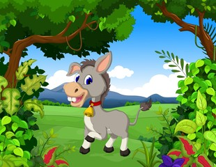 donkey cartoon with landscape background