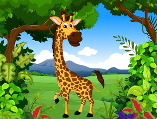 giraffe cartoon with landscape background