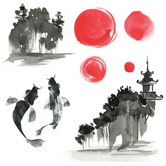 Hand drawn ink sumi-e elements: landskype, sun, temple, fich. Ja