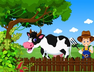 funny farm with cow cartoon and farmer life background
