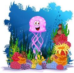 funny jellyfish cartoon with sea life backgeound