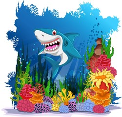 funny shark with sea life background