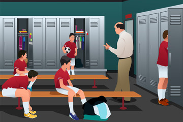 Soccer Coach Talking to the Players in the Locker Room