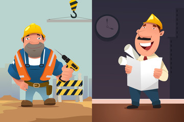 Construction Worker and Architect Cartoon