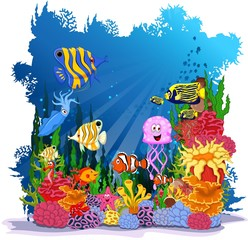 funny cartoon sea life for you design