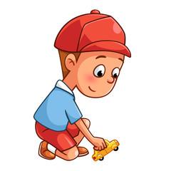Boy playing a car cartoon style