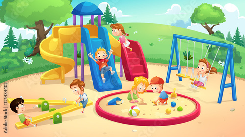 """park and playground cartoon"""" stock image and royalty-free vector"""